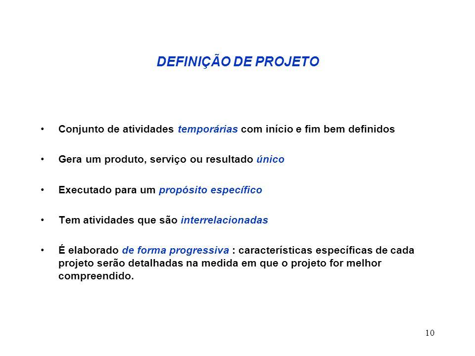 10 DEFINIÇÃO DE PROJETO Conjunto de atividades temporárias com início e fim bem definidos Gera um produto, serviço ou resultado único Executado para u