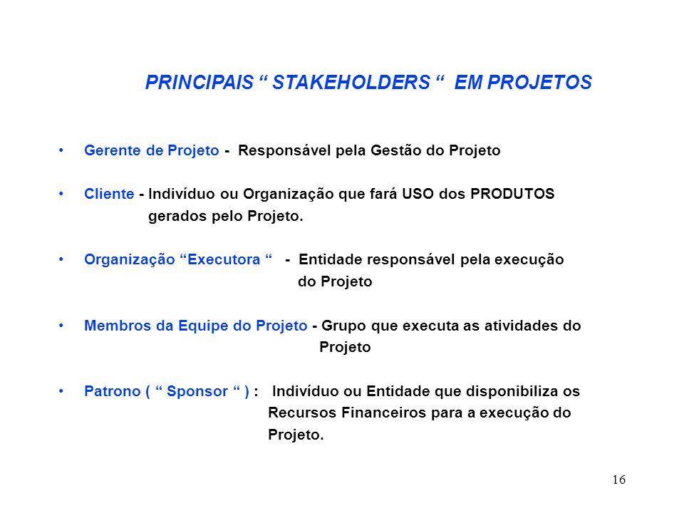 16 PRINCIPAIS STAKEHOLDERS EM PROJETOS Gerente de Projeto - Responsável pela Gestão do Projeto Cliente - Indivíduo ou Organização que fará USO dos PRO