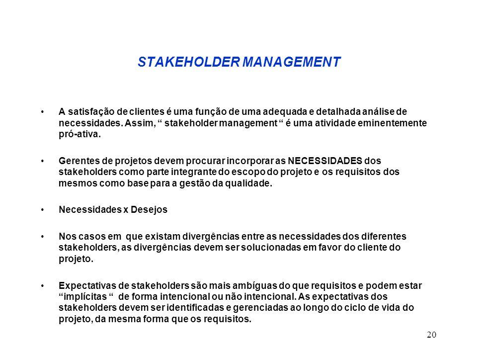 20 STAKEHOLDER MANAGEMENT A satisfação de clientes é uma função de uma adequada e detalhada análise de necessidades. Assim, stakeholder management é u