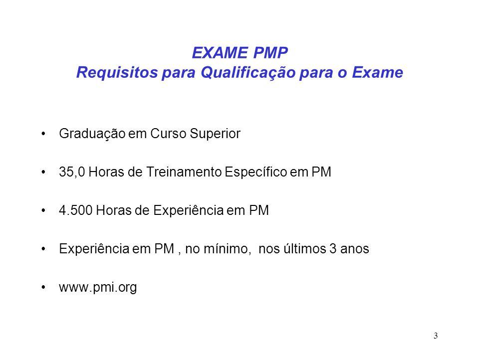 3 EXAME PMP Requisitos para Qualificação para o Exame Graduação em Curso Superior 35,0 Horas de Treinamento Específico em PM 4.500 Horas de Experiênci