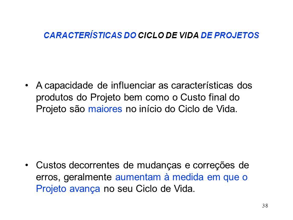 38 CARACTERÍSTICAS DO CICLO DE VIDA DE PROJETOS A capacidade de influenciar as características dos produtos do Projeto bem como o Custo final do Proje