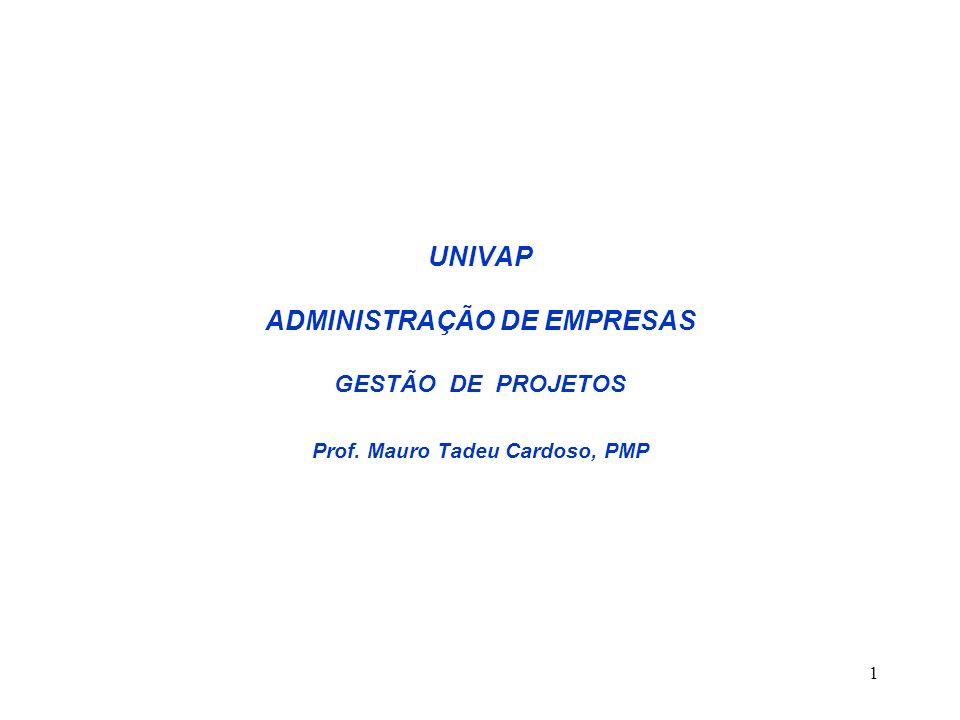 1 UNIVAP ADMINISTRAÇÃO DE EMPRESAS GESTÃO DE PROJETOS Prof. Mauro Tadeu Cardoso, PMP