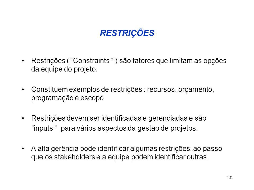 20 RESTRIÇÕES Restrições ( Constraints ) são fatores que limitam as opções da equipe do projeto. Constituem exemplos de restrições : recursos, orçamen