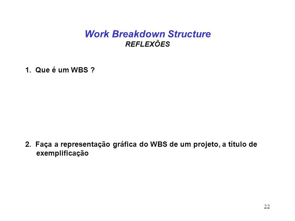 22 Work Breakdown Structure REFLEXÕES 1. Que é um WBS ? 2. Faça a representação gráfica do WBS de um projeto, a título de exemplificação