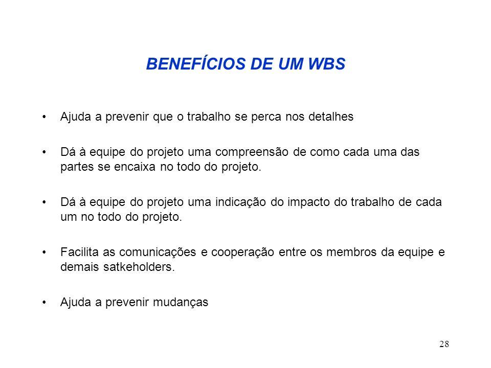 28 BENEFÍCIOS DE UM WBS Ajuda a prevenir que o trabalho se perca nos detalhes Dá à equipe do projeto uma compreensão de como cada uma das partes se en