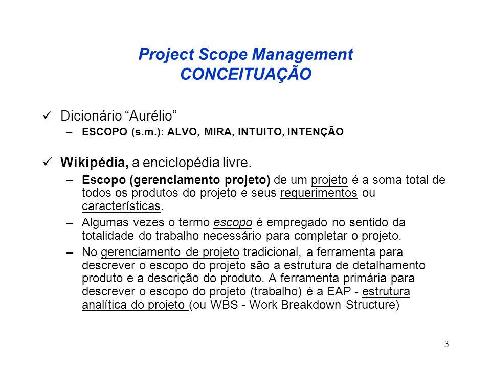 3 Dicionário Aurélio –ESCOPO (s.m.): ALVO, MIRA, INTUITO, INTENÇÃO Wikipédia, a enciclopédia livre. –Escopo (gerenciamento projeto) de um projeto é a