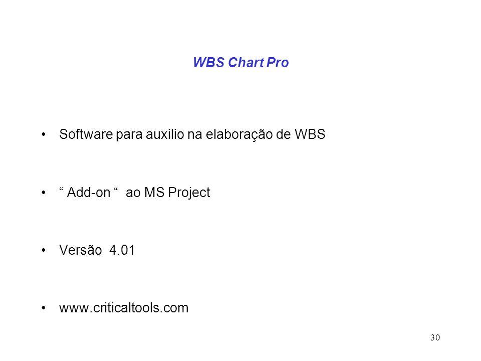 30 WBS Chart Pro Software para auxilio na elaboração de WBS Add-on ao MS Project Versão 4.01 www.criticaltools.com