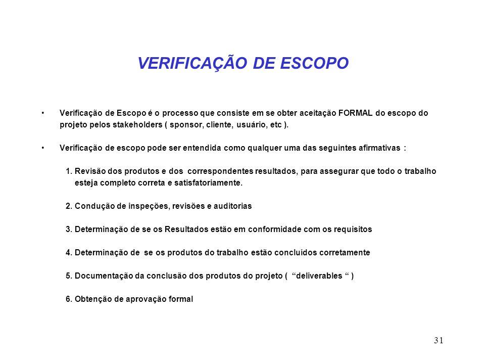 31 VERIFICAÇÃO DE ESCOPO Verificação de Escopo é o processo que consiste em se obter aceitação FORMAL do escopo do projeto pelos stakeholders ( sponso