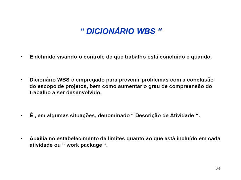 34 DICIONÁRIO WBS É definido visando o controle de que trabalho está concluído e quando. Dicionário WBS é empregado para prevenir problemas com a conc