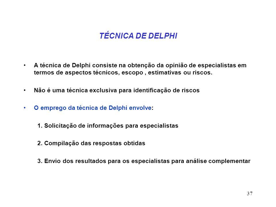 37 TÉCNICA DE DELPHI A técnica de Delphi consiste na obtenção da opinião de especialistas em termos de aspectos técnicos, escopo, estimativas ou risco
