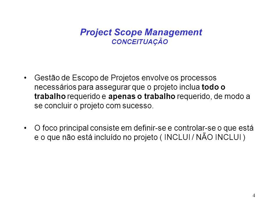 4 Gestão de Escopo de Projetos envolve os processos necessários para assegurar que o projeto inclua todo o trabalho requerido e apenas o trabalho requ