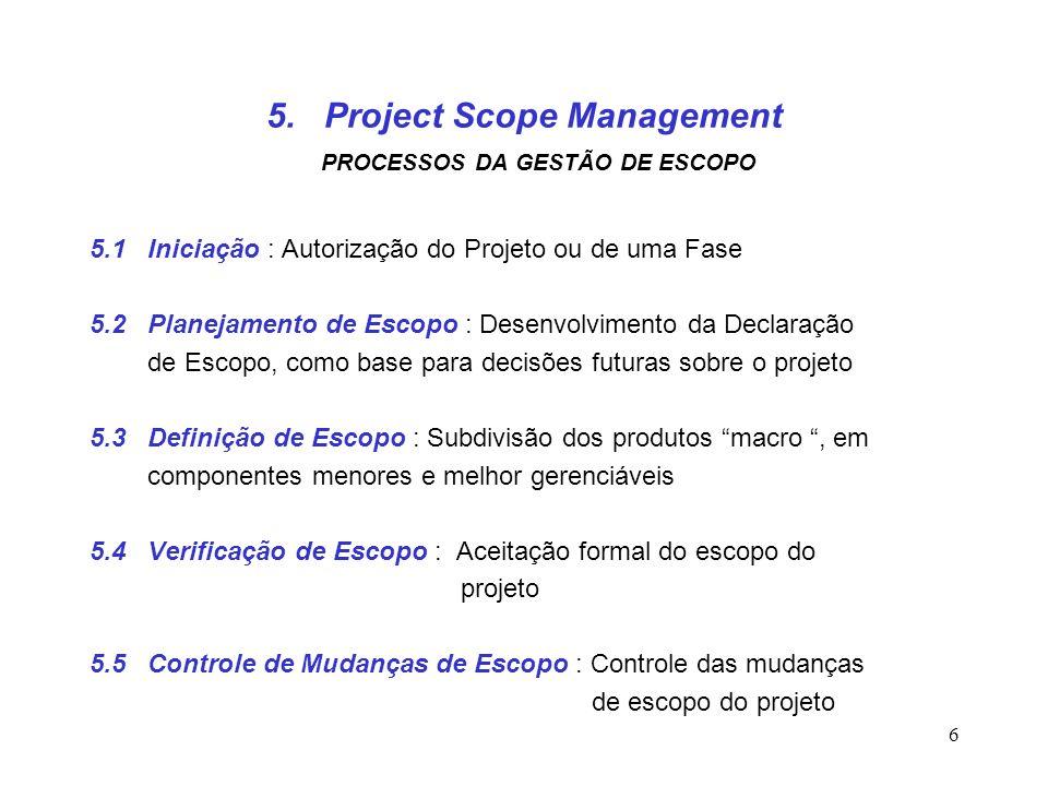 6 5. Project Scope Management PROCESSOS DA GESTÃO DE ESCOPO 5.1 Iniciação : Autorização do Projeto ou de uma Fase 5.2 Planejamento de Escopo : Desenvo