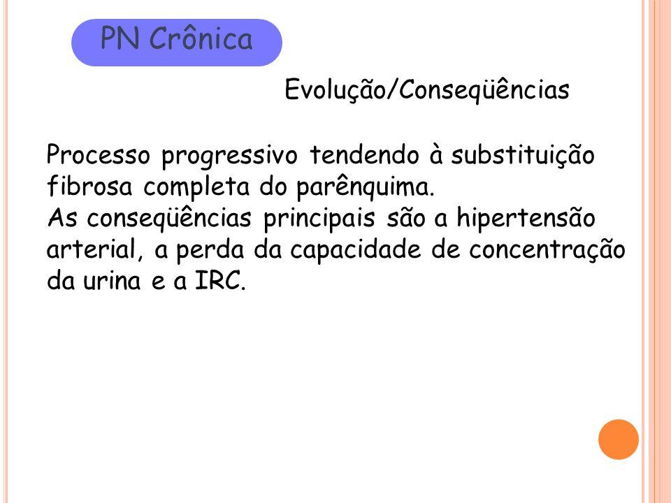 PN Crônica Evolução/Conseqüências Processo progressivo tendendo à substituição fibrosa completa do parênquima. As conseqüências principais são a hiper
