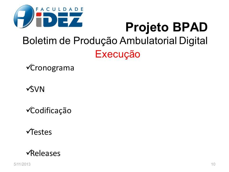 Projeto BPAD Boletim de Produção Ambulatorial Digital Execução Cronograma SVN Codificação Testes Releases 5/11/201310