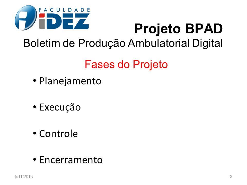 Projeto BPAD Boletim de Produção Ambulatorial Digital Planejamento Execução Controle Encerramento 5/11/20133 Fases do Projeto
