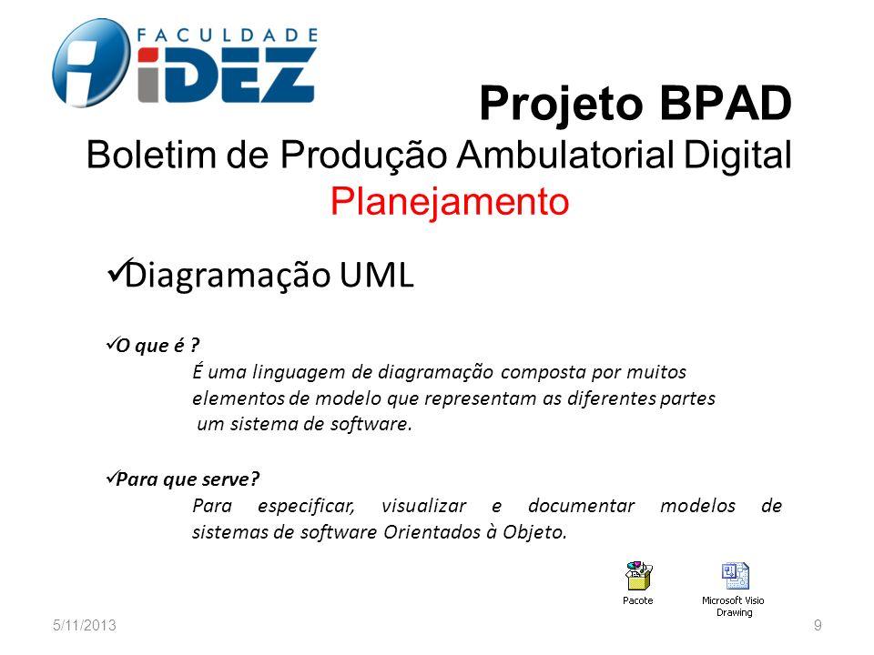Projeto BPAD Boletim de Produção Ambulatorial Digital Planejamento Diagramação UML O que é ? É uma linguagem de diagramação composta por muitos elemen