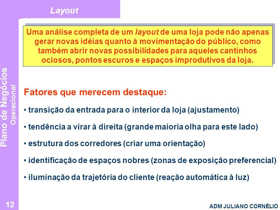 Plano de Negócios Operacional ADM JULIANO CORNÉLIO 12 Layout Uma análise completa de um layout de uma loja pode não apenas gerar novas idéias quanto à