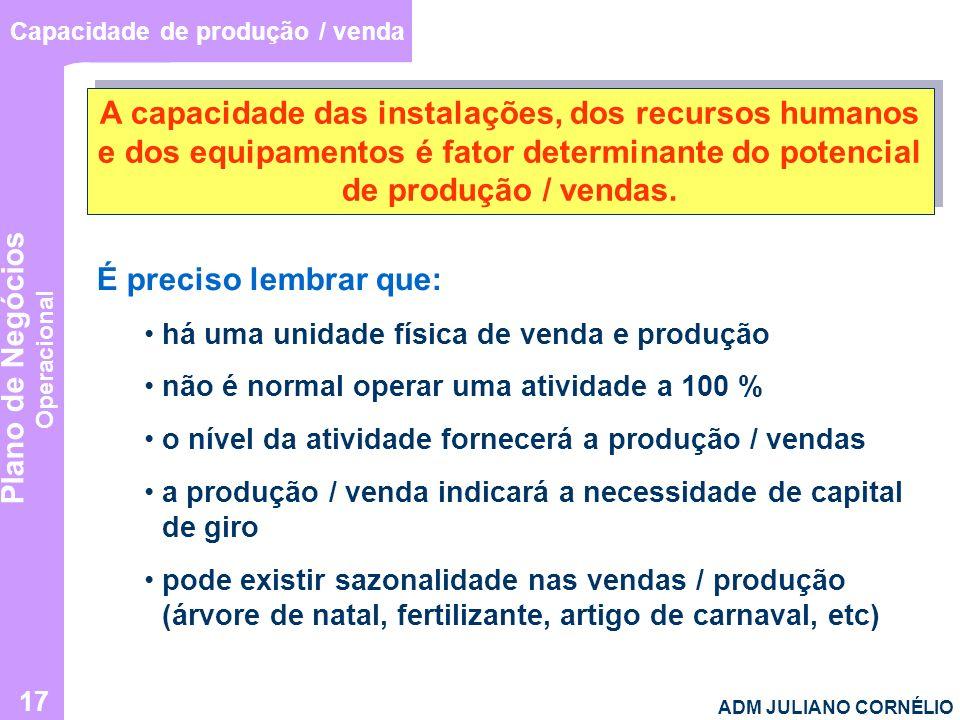 Plano de Negócios Operacional ADM JULIANO CORNÉLIO 17 Capacidade de produção / venda A capacidade das instalações, dos recursos humanos e dos equipame
