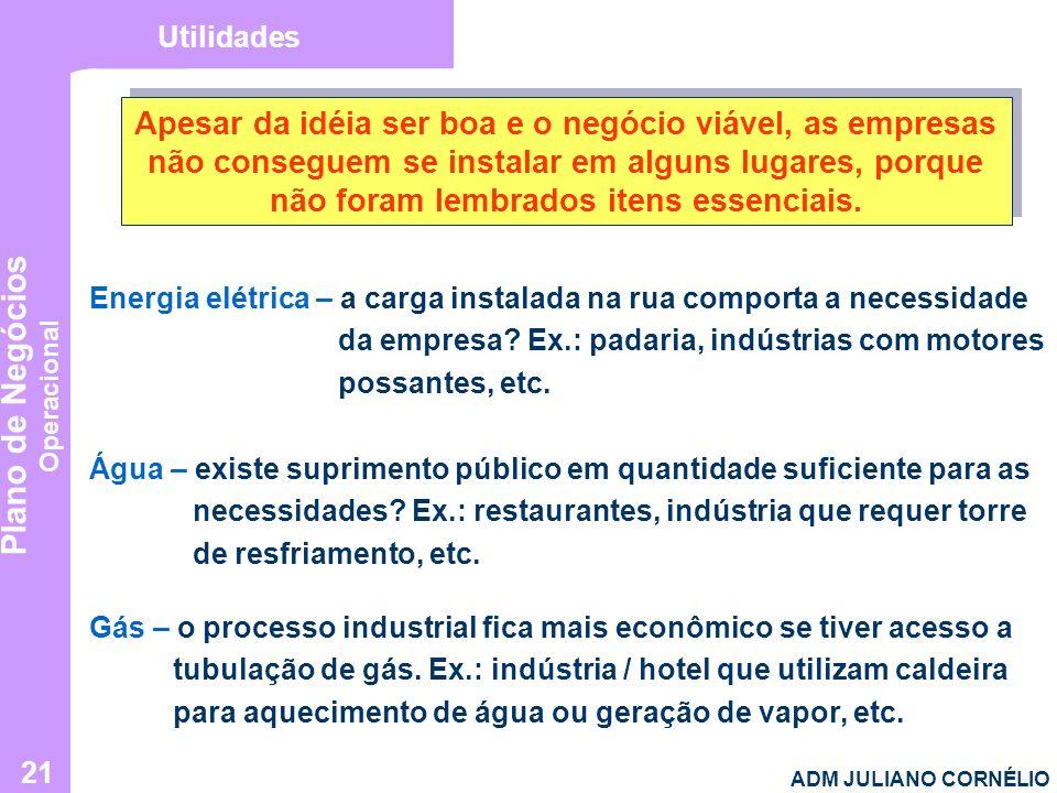 Plano de Negócios Operacional ADM JULIANO CORNÉLIO 21 Utilidades Apesar da idéia ser boa e o negócio viável, as empresas não conseguem se instalar em