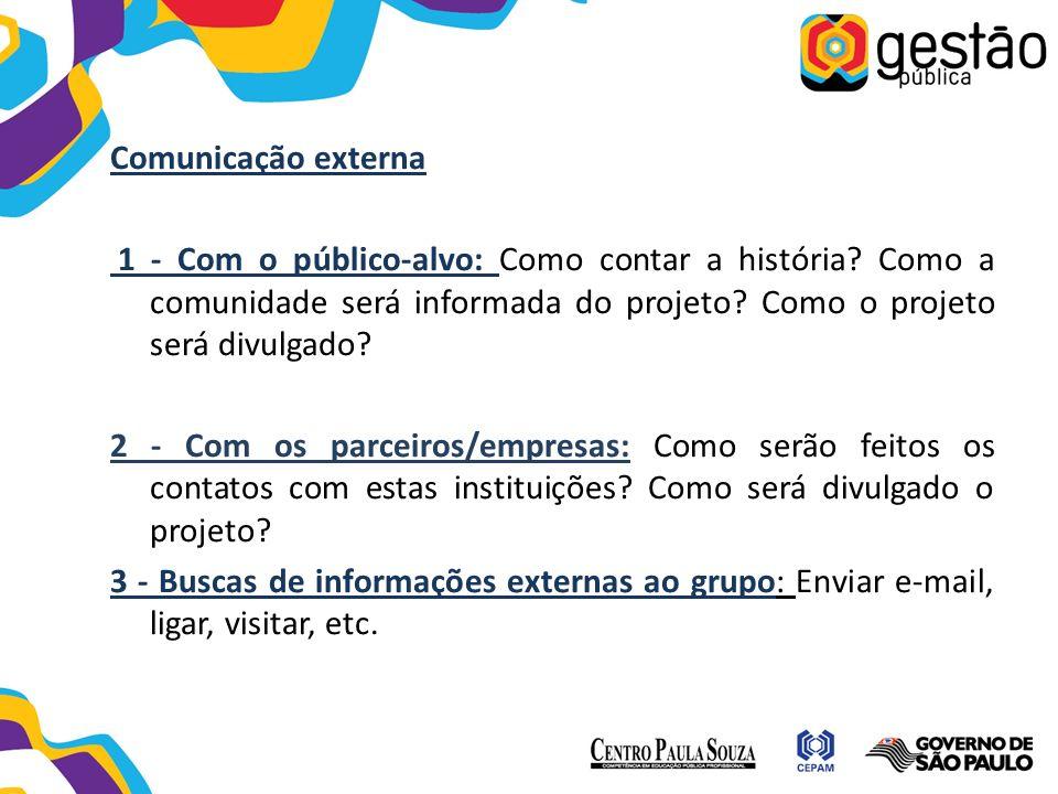 Comunicação externa 1 - Com o público-alvo: Como contar a história? Como a comunidade será informada do projeto? Como o projeto será divulgado? 2 - Co