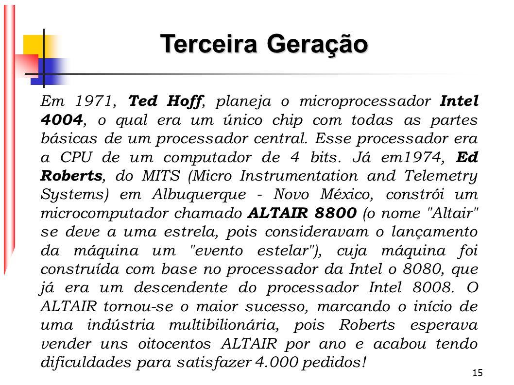 15 Em 1971, Ted Hoff, planeja o microprocessador Intel 4004, o qual era um único chip com todas as partes básicas de um processador central. Esse proc