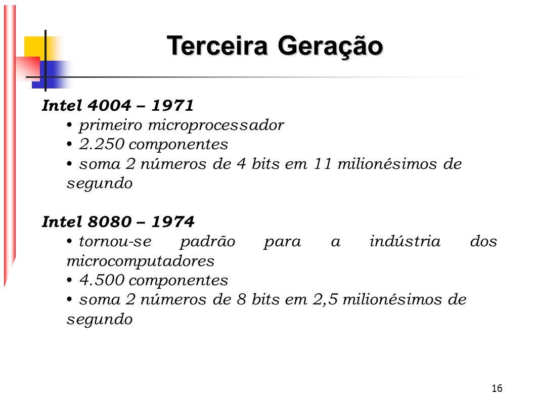 16 Intel 4004 – 1971 primeiro microprocessador 2.250 componentes soma 2 números de 4 bits em 11 milionésimos de segundo Intel 8080 – 1974 tornou-se pa