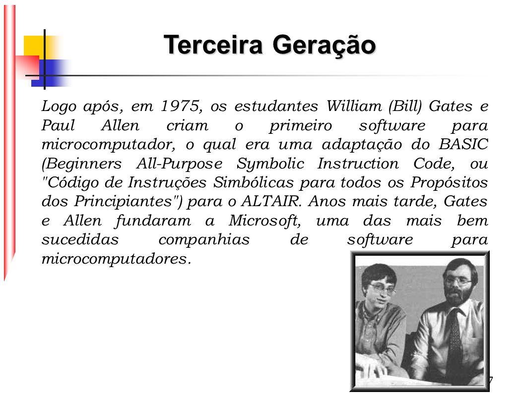 17 Logo após, em 1975, os estudantes William (Bill) Gates e Paul Allen criam o primeiro software para microcomputador, o qual era uma adaptação do BAS