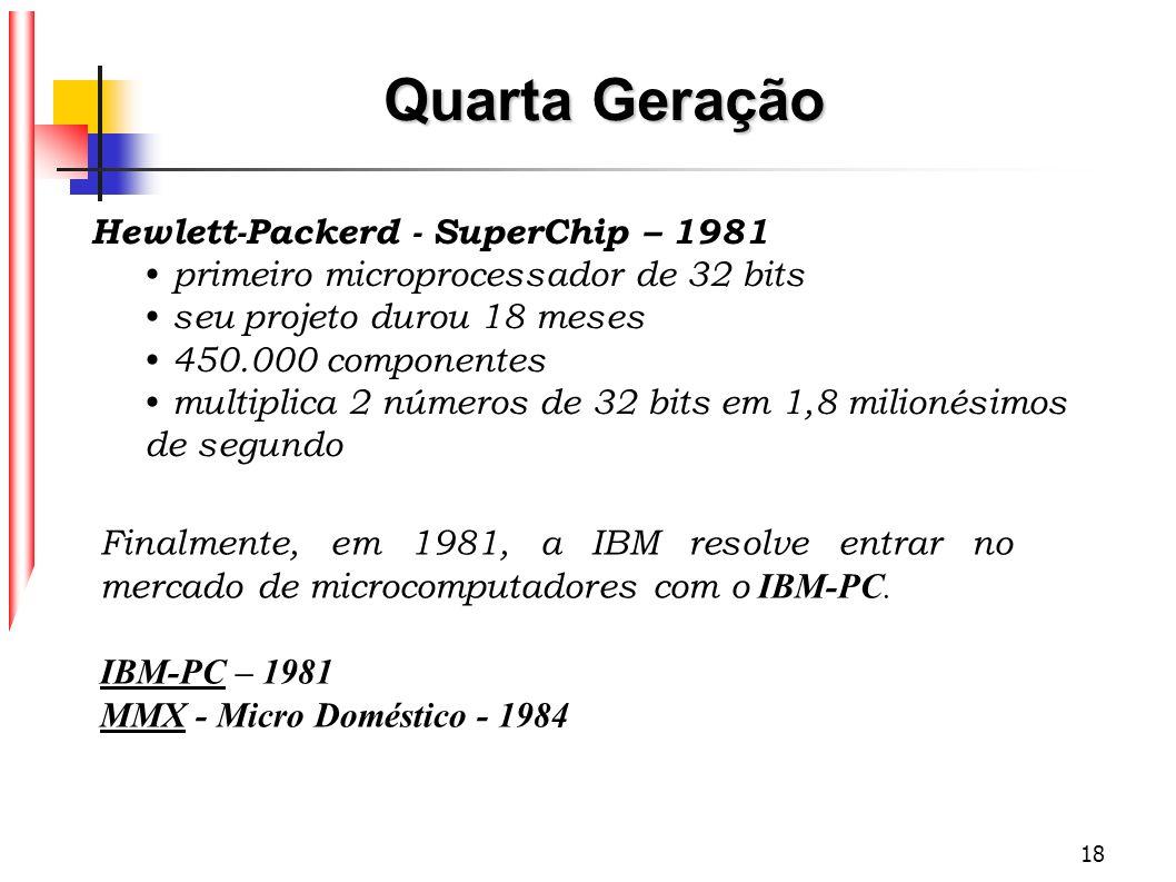 18 Hewlett-Packerd - SuperChip – 1981 primeiro microprocessador de 32 bits seu projeto durou 18 meses 450.000 componentes multiplica 2 números de 32 b