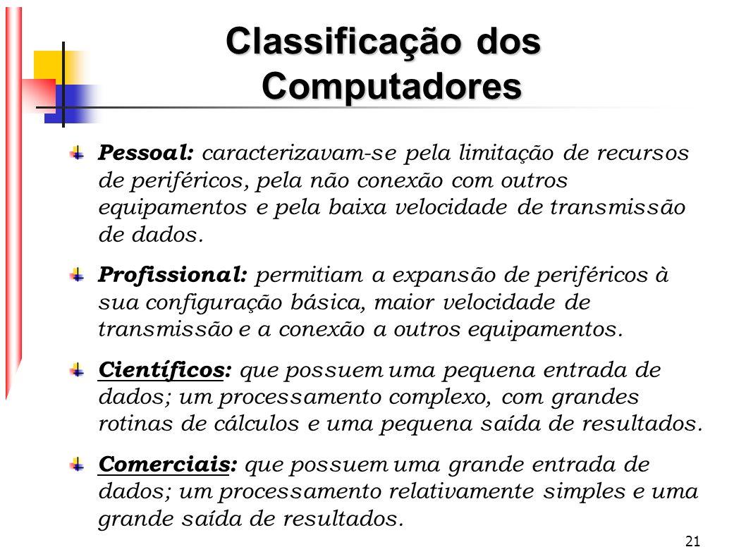21 Classificação dos Computadores Pessoal: caracterizavam-se pela limitação de recursos de periféricos, pela não conexão com outros equipamentos e pel