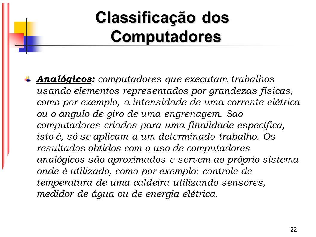 22 Classificação dos Computadores Analógicos: computadores que executam trabalhos usando elementos representados por grandezas físicas, como por exemp