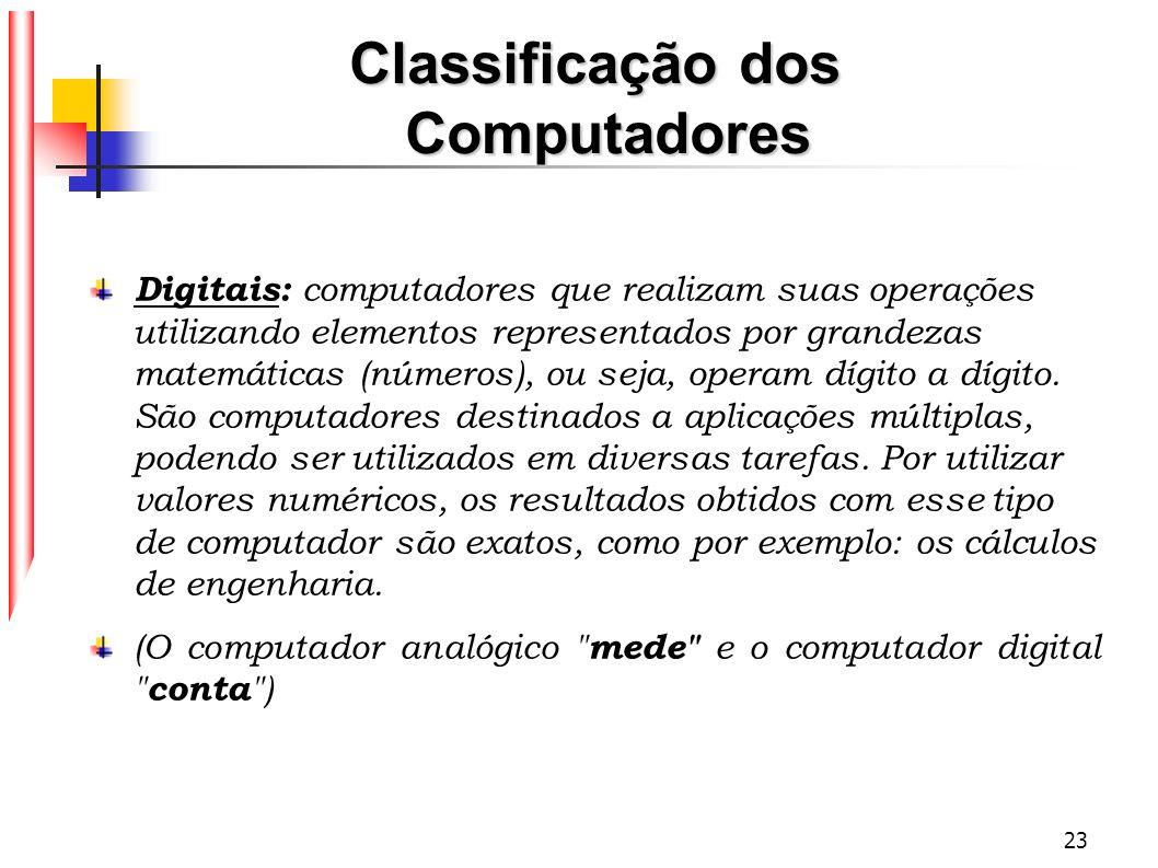 23 Classificação dos Computadores Digitais: computadores que realizam suas operações utilizando elementos representados por grandezas matemáticas (núm