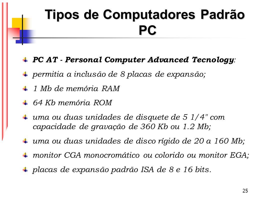 25 Tipos de Computadores Padrão PC PC AT - Personal Computer Advanced Tecnology : permitia a inclusão de 8 placas de expansão; 1 Mb de memória RAM 64