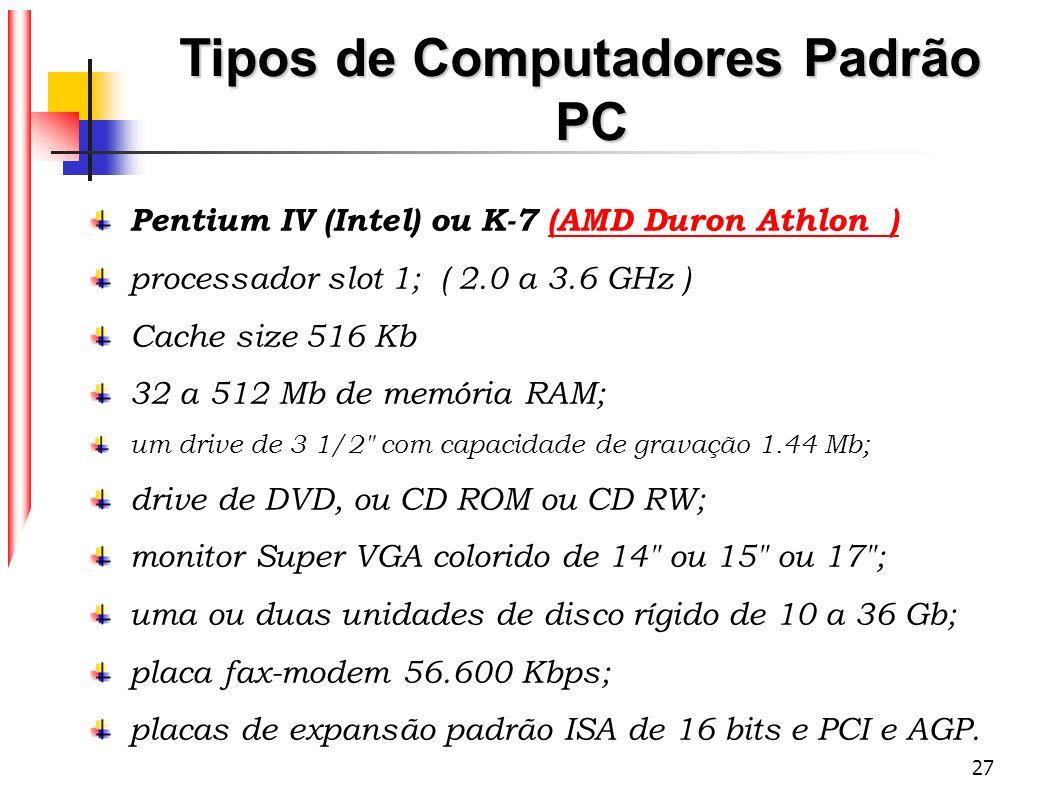 27 Tipos de Computadores Padrão PC Pentium IV (Intel) ou K-7 (AMD Duron Athlon )(AMD Duron Athlon ) processador slot 1; ( 2.0 a 3.6 GHz ) Cache size 5