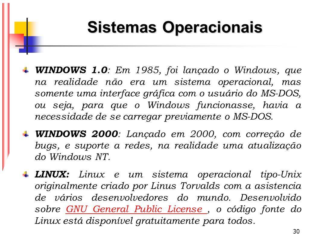 30 Sistemas Operacionais WINDOWS 1.0 : Em 1985, foi lançado o Windows, que na realidade não era um sistema operacional, mas somente uma interface gráf
