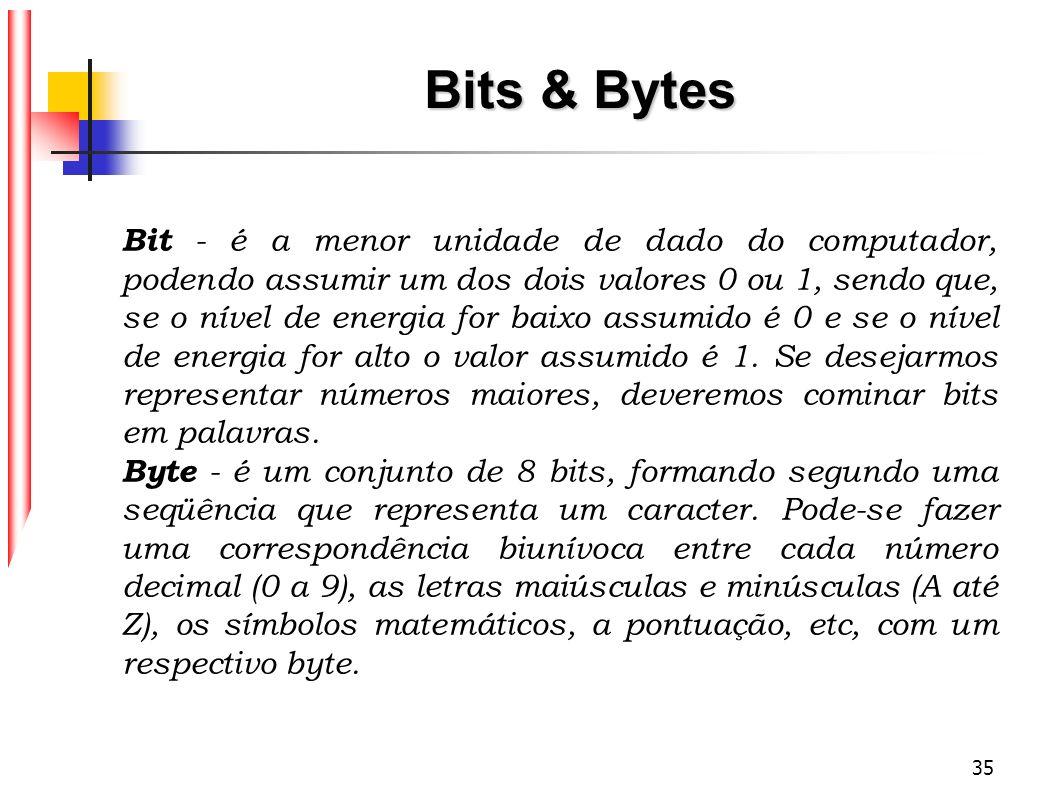 35 Bits & Bytes Bit - é a menor unidade de dado do computador, podendo assumir um dos dois valores 0 ou 1, sendo que, se o nível de energia for baixo