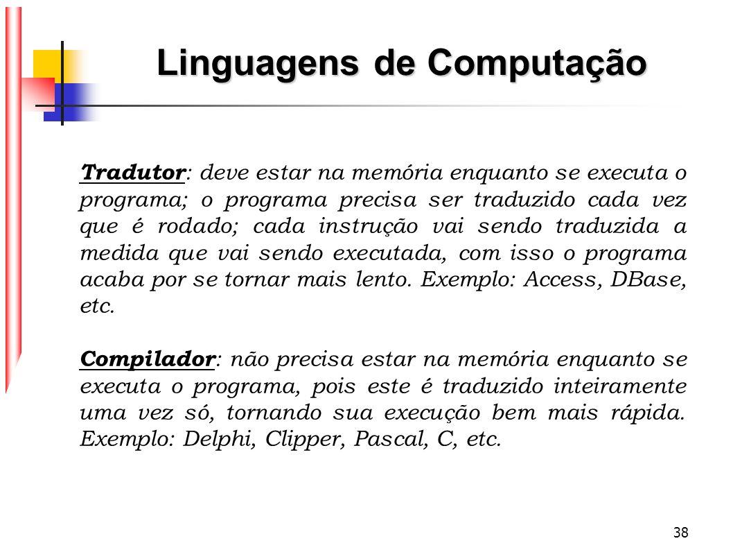 38 Linguagens de Computação Tradutor : deve estar na memória enquanto se executa o programa; o programa precisa ser traduzido cada vez que é rodado; c