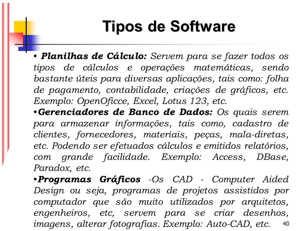 40 Tipos de Software Planilhas de Cálculo: Servem para se fazer todos os tipos de cálculos e operações matemáticas, sendo bastante úteis para diversas