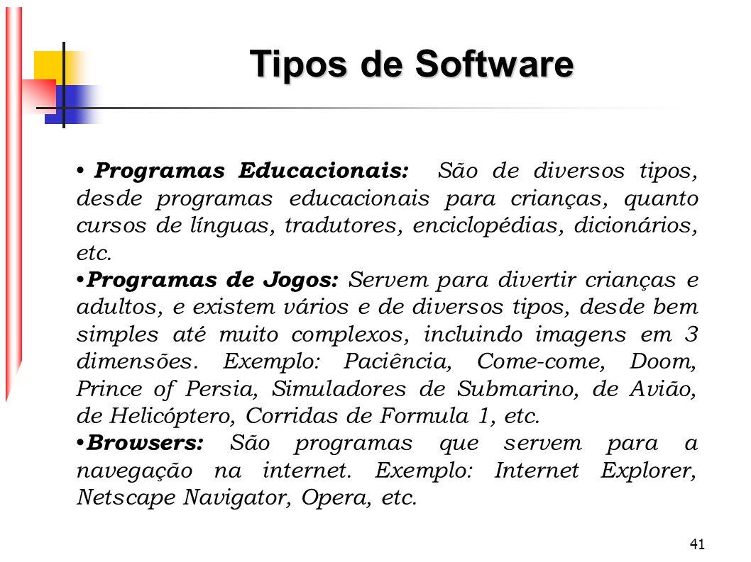 41 Tipos de Software Programas Educacionais: São de diversos tipos, desde programas educacionais para crianças, quanto cursos de línguas, tradutores,