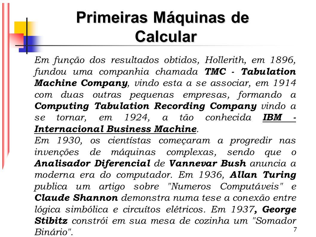 7 Em função dos resultados obtidos, Hollerith, em 1896, fundou uma companhia chamada TMC - Tabulation Machine Company, vindo esta a se associar, em 19