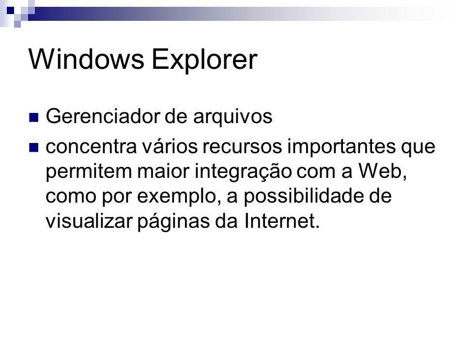 Windows Explorer Gerenciador de arquivos concentra vários recursos importantes que permitem maior integração com a Web, como por exemplo, a possibilidade de visualizar páginas da Internet.