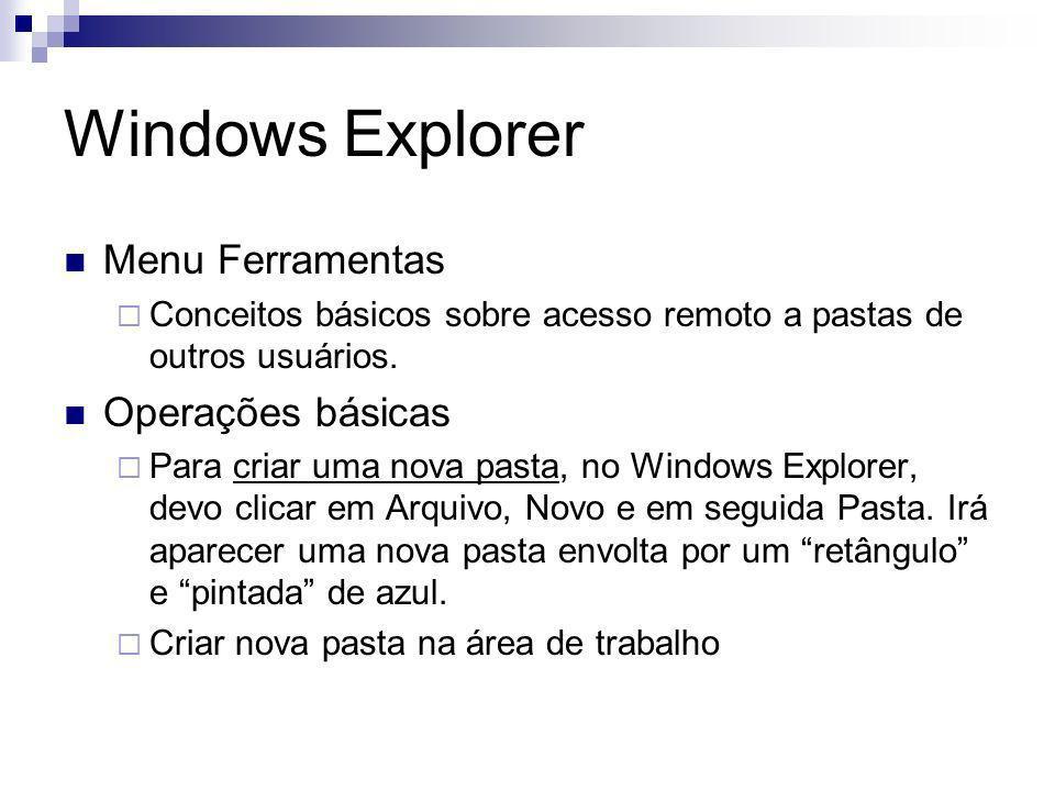 Windows Explorer Menu Ferramentas Conceitos básicos sobre acesso remoto a pastas de outros usuários.