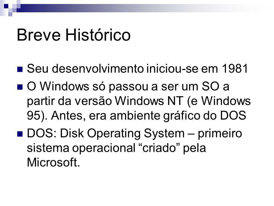 Breve Histórico Seu desenvolvimento iniciou-se em 1981 O Windows só passou a ser um SO a partir da versão Windows NT (e Windows 95).