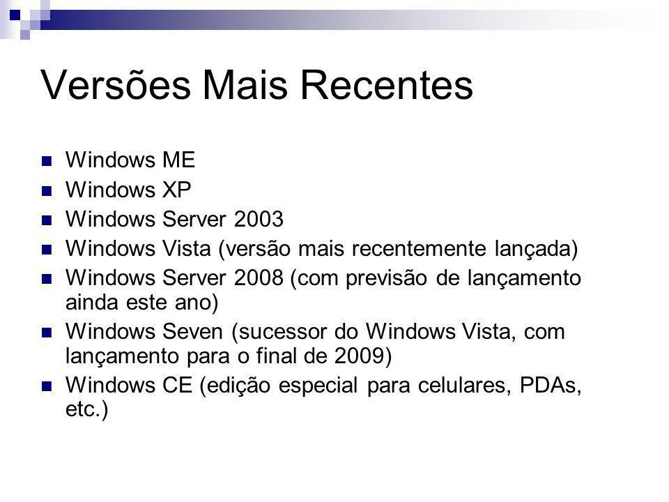 Versões Mais Recentes Windows ME Windows XP Windows Server 2003 Windows Vista (versão mais recentemente lançada) Windows Server 2008 (com previsão de lançamento ainda este ano) Windows Seven (sucessor do Windows Vista, com lançamento para o final de 2009) Windows CE (edição especial para celulares, PDAs, etc.)