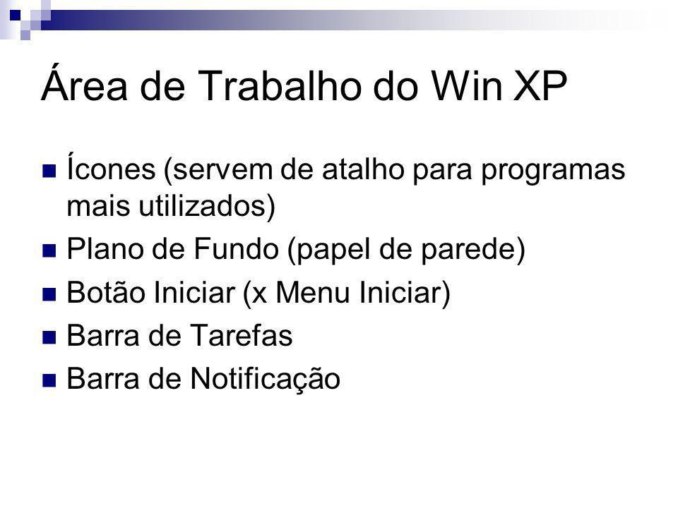 Área de Trabalho do Win XP Ícones (servem de atalho para programas mais utilizados) Plano de Fundo (papel de parede) Botão Iniciar (x Menu Iniciar) Barra de Tarefas Barra de Notificação