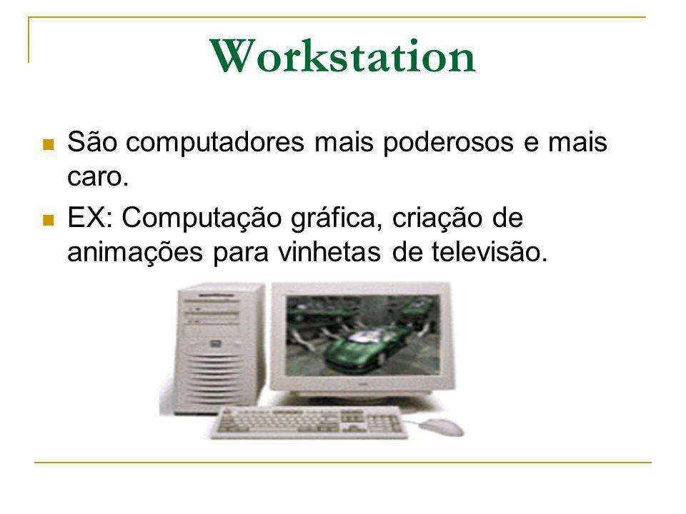 Workstation São computadores mais poderosos e mais caro. EX: Computação gráfica, criação de animações para vinhetas de televisão.
