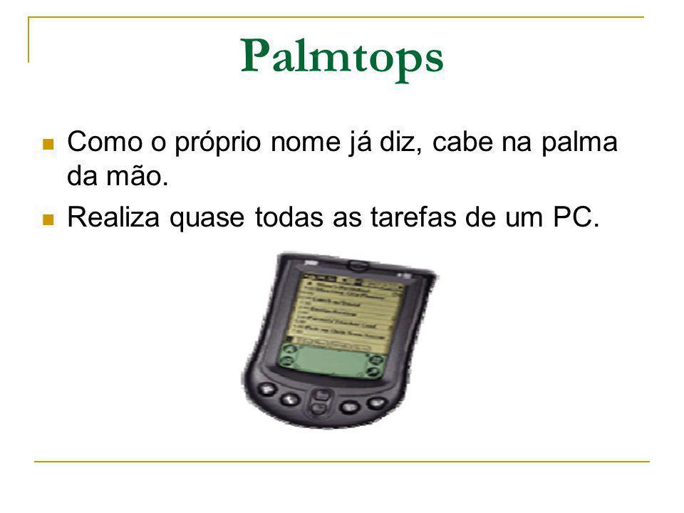 Palmtops Como o próprio nome já diz, cabe na palma da mão. Realiza quase todas as tarefas de um PC.