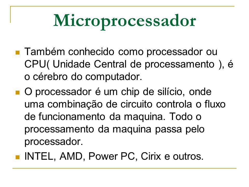 Microprocessador Também conhecido como processador ou CPU( Unidade Central de processamento ), é o cérebro do computador. O processador é um chip de s