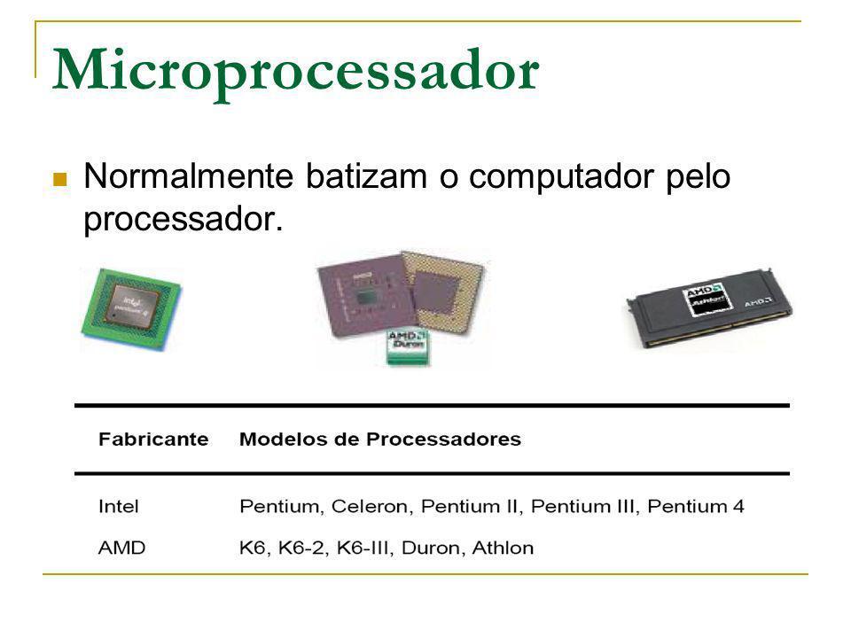 Microprocessador Normalmente batizam o computador pelo processador.