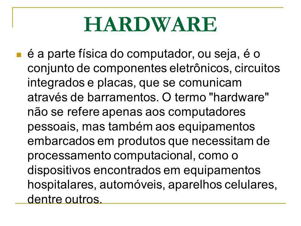 HARDWARE é a parte física do computador, ou seja, é o conjunto de componentes eletrônicos, circuitos integrados e placas, que se comunicam através de