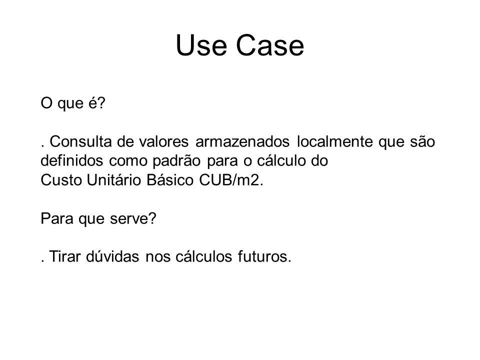 Use Case O que é?. Consulta de valores armazenados localmente que são definidos como padrão para o cálculo do Custo Unitário Básico CUB/m2. Para que s